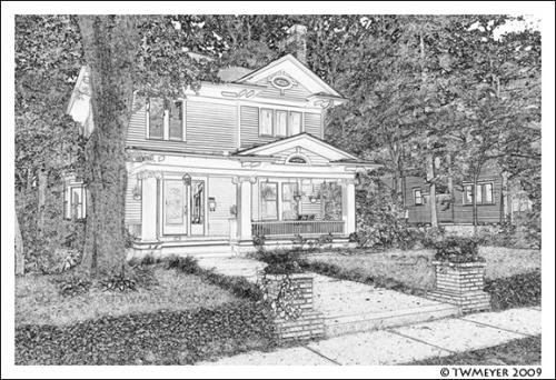 Leila Ross Wilburn home, note card image #3